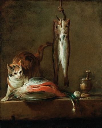 Chardin Cat with Salmon