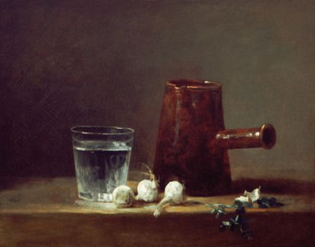 Chardin Glass of water and coffe pot